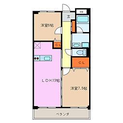 ラ・カーサTSUCHIHARA[3階]の間取り