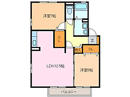 愛知県名古屋市緑区白土の賃貸アパートの間取り
