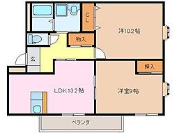 愛知県名古屋市緑区八つ松1丁目の賃貸マンションの間取り
