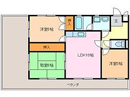 愛知県名古屋市緑区姥子山3丁目の賃貸マンションの間取り