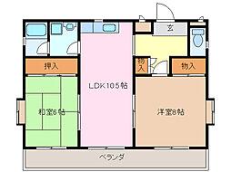 愛知県名古屋市緑区黒沢台1丁目の賃貸マンションの間取り