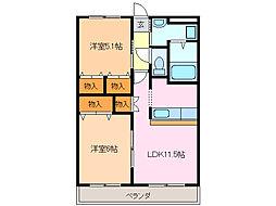 愛知県名古屋市緑区有松幕山の賃貸マンションの間取り