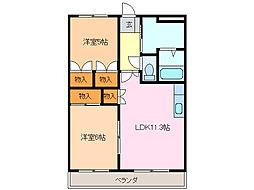 愛知県名古屋市緑区桶狭間南の賃貸マンションの間取り