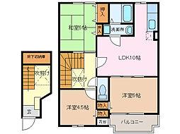 愛知県名古屋市緑区太子2丁目の賃貸アパートの間取り