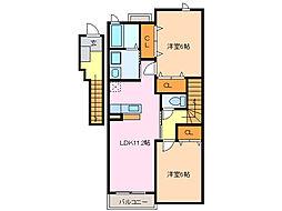 愛知県名古屋市緑区諸の木3丁目の賃貸アパートの間取り