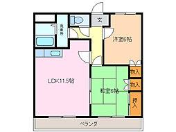 愛知県名古屋市緑区緑花台の賃貸マンションの間取り