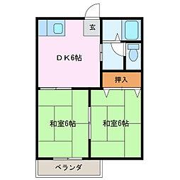 愛知県名古屋市緑区篠の風1丁目の賃貸アパートの間取り