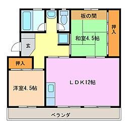愛知県豊明市栄町姥子の賃貸アパートの間取り