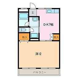 愛知県豊明市二村台2丁目の賃貸マンションの間取り