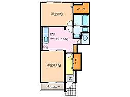 愛知県名古屋市緑区万場山2丁目の賃貸アパートの間取り