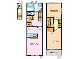 愛知県名古屋市緑区青山4丁目の賃貸アパートの間取り