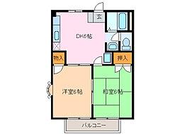 愛知県名古屋市緑区古鳴海2の賃貸アパートの間取り