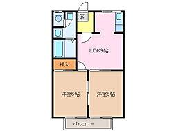 愛知県名古屋市緑区梅里2丁目の賃貸アパートの間取り