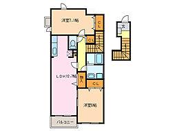 愛知県名古屋市緑区大高町字西森前の賃貸アパートの間取り