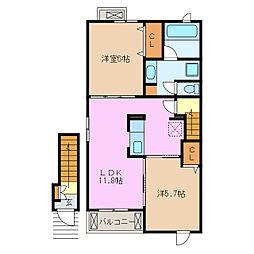 愛知県名古屋市緑区大高町字追風の賃貸アパートの間取り
