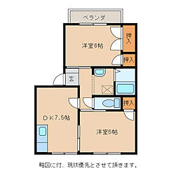 ツインハイツオーク[1階]の間取り