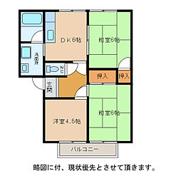 滋賀県東近江市八日市緑町の賃貸アパートの間取り