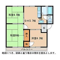 滋賀県東近江市妙法寺町の賃貸アパートの間取り