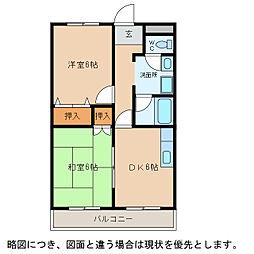 滋賀県東近江市沖野4丁目の賃貸マンションの間取り
