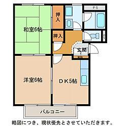 滋賀県東近江市横溝町の賃貸アパートの間取り