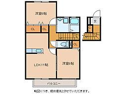 パシフィックドリーム B棟[2階]の間取り