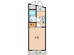 カーサ清水花[1階]の間取り