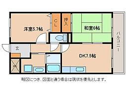 御園ハイツI[4階]の間取り