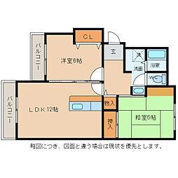 滋賀県愛知郡愛荘町沓掛の賃貸マンションの間取り