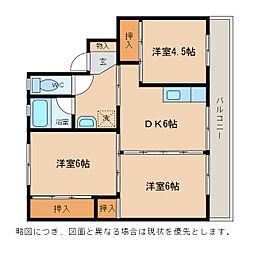 ビレッジハウスひの[4階]の間取り