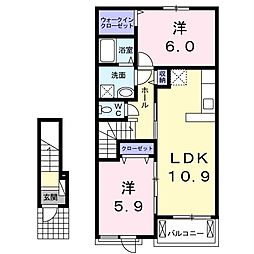 JR内房線 袖ヶ浦駅 徒歩13分の賃貸アパート 2階2LDKの間取り