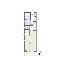 JR内房線 姉ヶ崎駅 徒歩9分の賃貸マンション 2階1Kの間取り