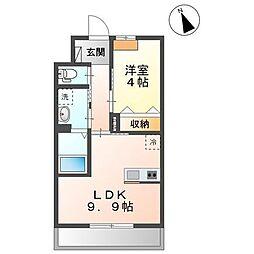 JR内房線 袖ヶ浦駅 徒歩13分の賃貸アパート 2階1LDKの間取り