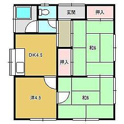 JR内房線 長浦駅 徒歩10分の賃貸アパート 1階3DKの間取り