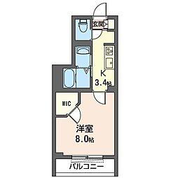 JR内房線 八幡宿駅 徒歩5分の賃貸マンション 3階1Kの間取り