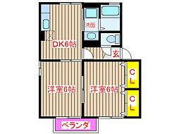 鹿児島県姶良市東餅田の賃貸アパートの間取り
