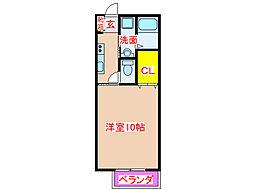JR日豊本線 重富駅 徒歩10分の賃貸アパート 2階1Kの間取り