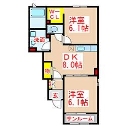 フォレストガーデン松原 1階2DKの間取り