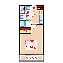 REDLINE 4階1Kの間取り
