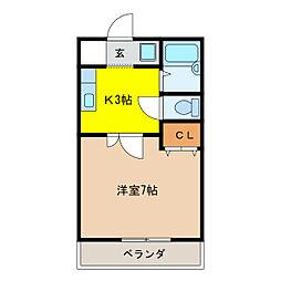 ビレッジK2[1階]の間取り
