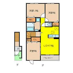 ユナイテッドステージ B[2階]の間取り