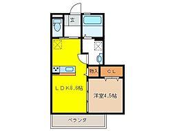 KM[1階]の間取り
