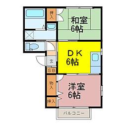 茨城県古河市大堤の賃貸アパートの間取り