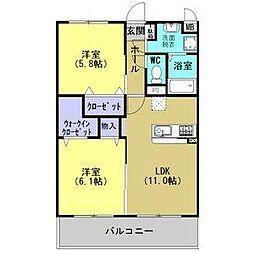 JR東北本線 古河駅 4.8kmの賃貸マンション 3階2LDKの間取り