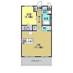 JR東北本線 古河駅 4.8kmの賃貸マンション 3階1LDKの間取り