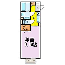 JR東北本線 古河駅 3.3kmの賃貸アパート 2階1Kの間取り