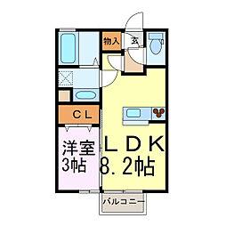 JR東北本線 古河駅 3.3kmの賃貸アパート 1階1LDKの間取り