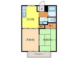 ホワイトハイツA・B[A203号室]の間取り