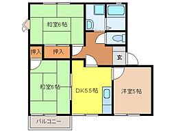 パインコートSEIWSA A・B棟[A201号室]の間取り