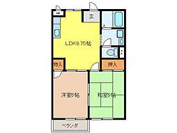 K`S HOUSE[B102号室]の間取り