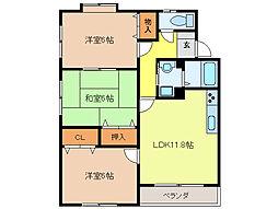 三浦コーポ2000 B[2階]の間取り